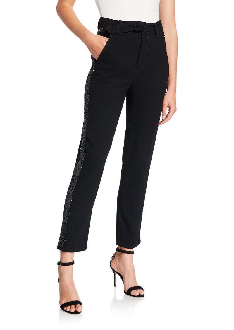 Derek Lam Straight-Leg Trousers with Rhinestone Tuxedo Stripes