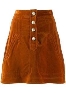 Derek Lam Stretch Velveteen A-Line Mini Skirt with Snaps