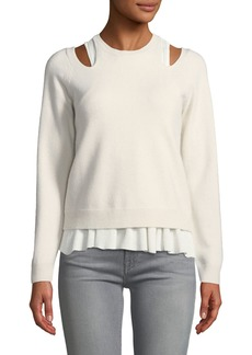 Derek Lam Stretch-Wool Layered Cutout Sweater