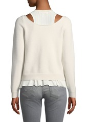 Derek Lam Stretch-Wool Layered Cutout Sweater