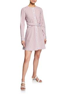 Derek Lam Stripe Poplin Long-Sleeve Mini Shirt Dress