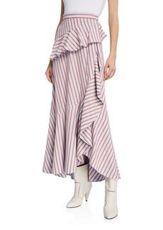 Derek Lam Stripe Poplin Ruffle Wrap Midi Skirt