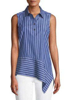 Derek Lam Striped Asymmetrical Sleeveless Shirt
