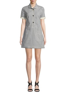 Derek Lam Striped Button-Front Utility Shirtdress