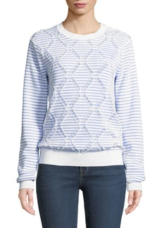 Derek Lam Striped Cotton Crewneck Pullover Sweater