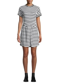 Derek Lam Striped Crewneck Ruffle Tee Dress