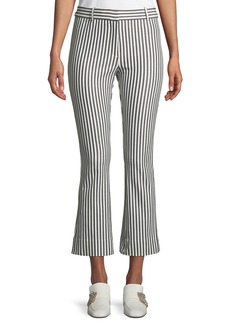 Derek Lam Striped Cropped Flare-Leg Trousers