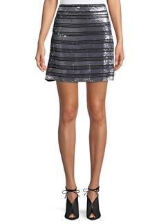 Derek Lam Striped Embellished Silk A-Line Mini Skirt