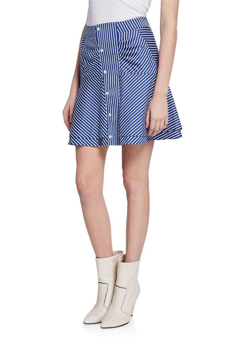 Derek Lam Striped Flared Short Skirt with Ruching