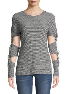 Derek Lam Striped Knotted-Sleeve Shirt