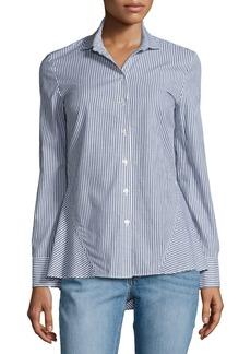 Derek Lam Striped Long-Sleeve Peplum Shirt
