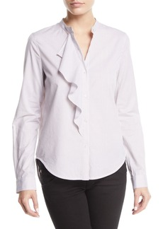 Derek Lam Striped Long-Sleeve Ruffle Button-Front Shirt