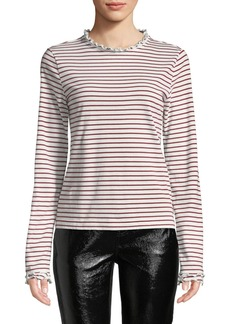 Derek Lam Striped Long-Sleeve Ruffle Tee