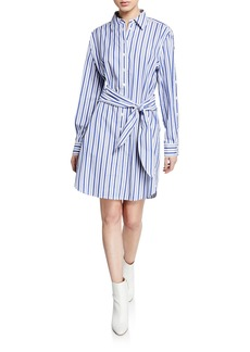 Derek Lam Striped Long-Sleeve Tie-Waist Shirtdress
