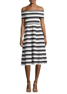 Derek Lam Striped Off-The-Shoulder Dress