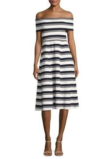 Derek Lam Striped Off-The-Shoulder Dress