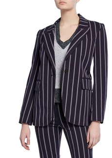 Derek Lam Striped One-Button Stretch-Cotton Blazer