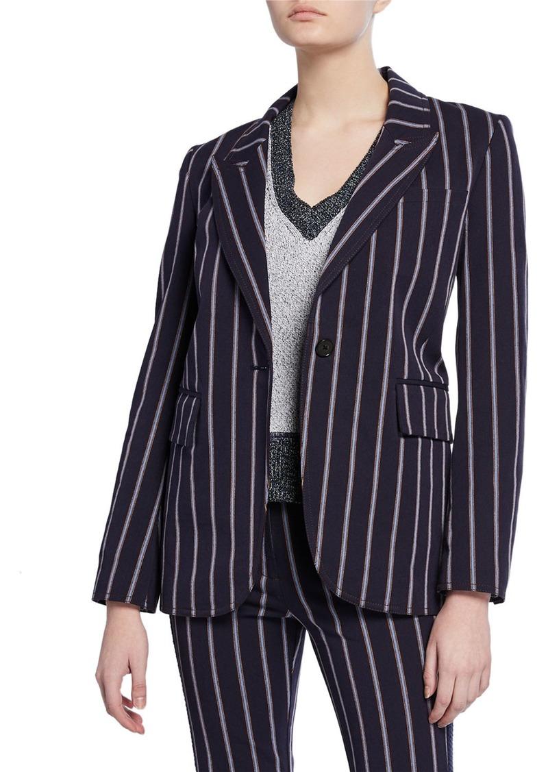 Derek Lam Striped One-Button Stretch-Cotton Blazer