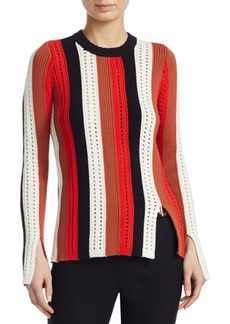 Derek Lam Striped Pointelle Sweater
