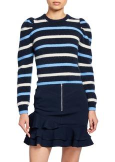 Derek Lam Striped Puff-Sleeve Sweater