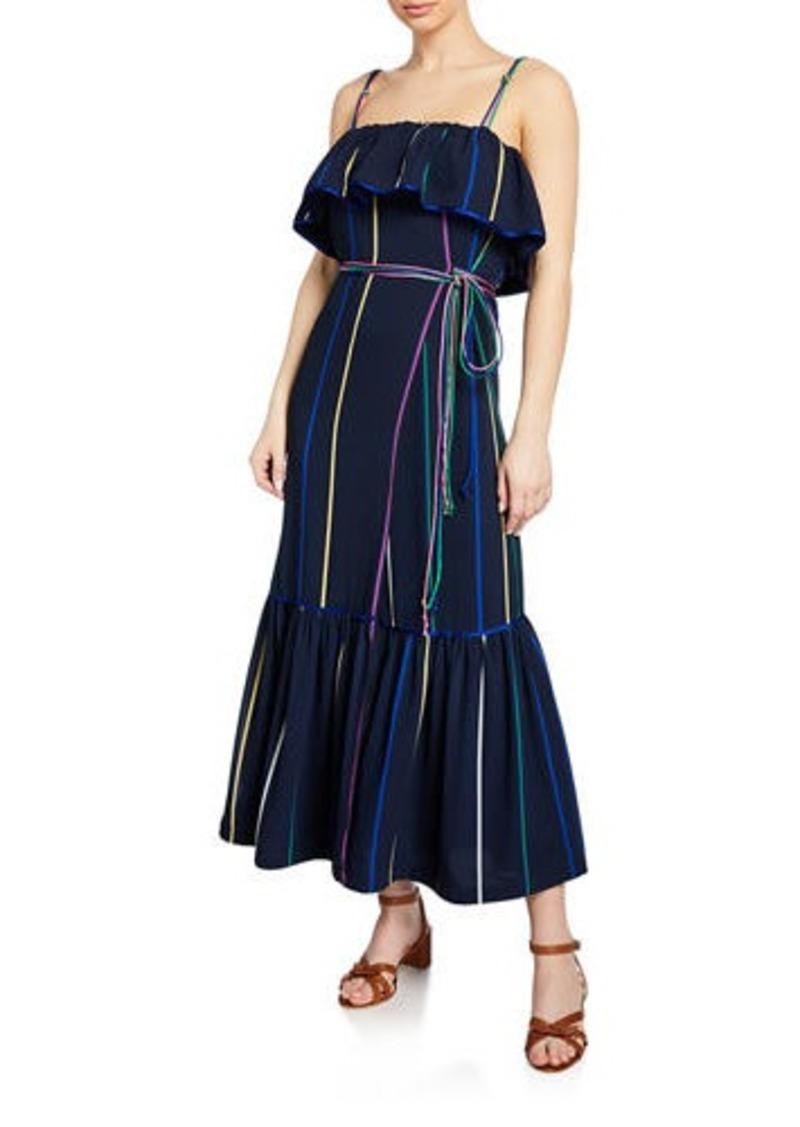 Derek Lam Striped Ruffle Cami Maxi Dress