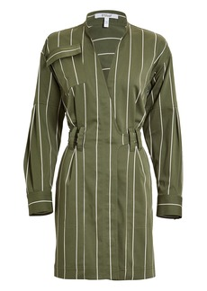 Derek Lam Striped Sateen Utility Wrap Dress