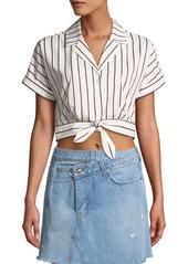 Derek Lam Striped Short-Sleeve Tie-Waist Cropped Shirt