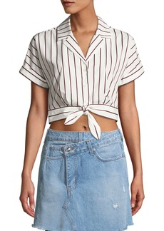 Derek Lam Striped Short-Sleeve Tie-Waist Cropped Shirt