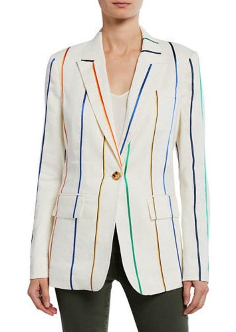 Derek Lam Striped Single-Button Blazer