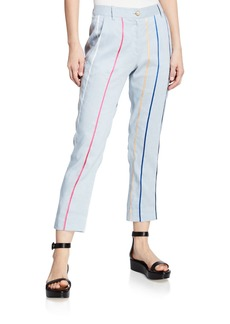 Derek Lam Striped Tapered Cropped Trouser