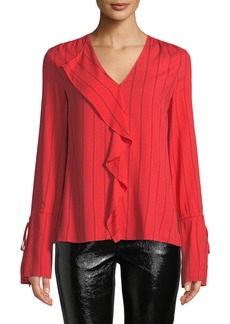 Derek Lam Striped V-Neck Ruffle Long-Sleeve Blouse