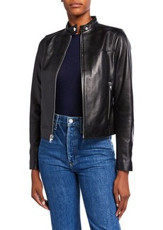 Derek Lam Tab-Collar Lamb Leather Jacket