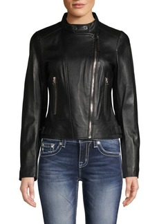 Derek Lam Tab-Collar Leather Jacket