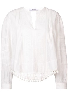 Derek Lam Tassel and Lace-Trimmed Pintuck Cotton Blouse