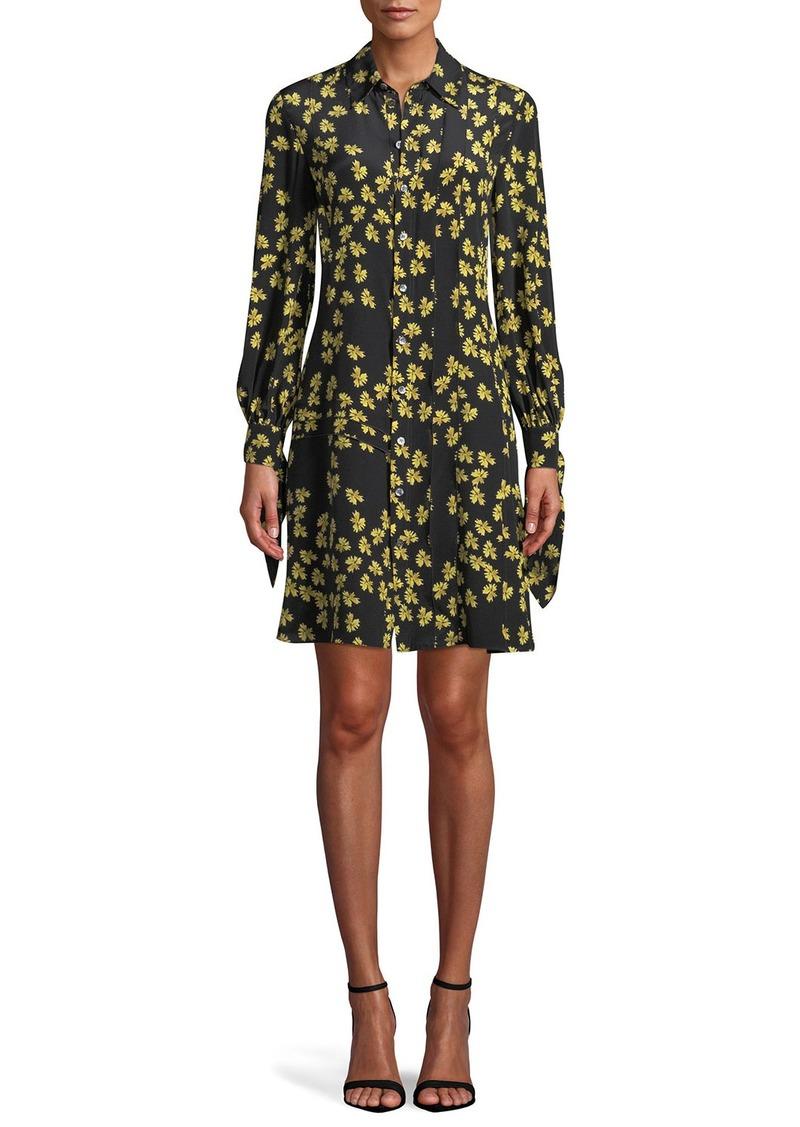 Derek Lam Tie-Cuffs Button-Front Floral-Print Silk Shirtdress w  Pleating 2b111a6f0