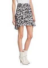 Derek Lam Tiered Ruffle Floral Asymmetrical Mini Skirt