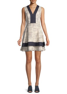 Derek Lam Tiered V-Neck Mini Dress w/ Denim Contrast