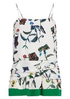 Derek Lam Twist-Detail Floral Silk Camisole