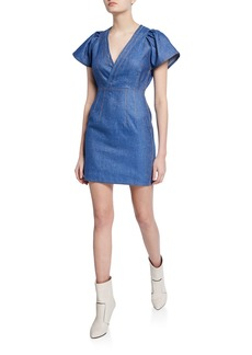 Derek Lam V-Neck Cap-Sleeve Fitted Mini Denim Dress