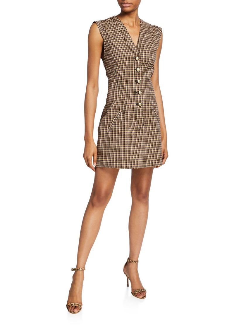 Derek Lam V-Neck Fit-&-Flare Button-Front Dress