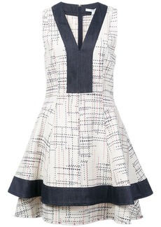 Derek Lam V-Neck Fit & Flare Dress with Denim Contrast