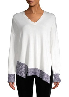 Derek Lam V-Neck Silk, Wool & Cashmere Sweater