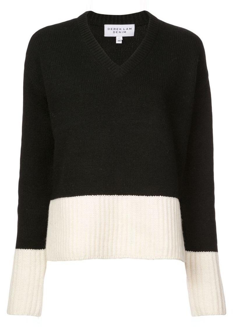 Derek Lam V-Neck Sweater with Contrast Rib Detail