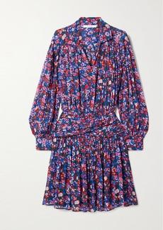 Derek Lam Valou Pleated Floral-print Crepe De Chine Mini Dress