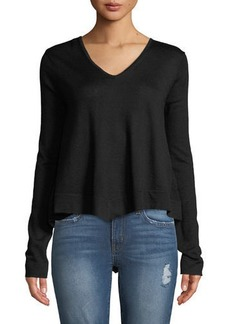 Derek Lam Ventura V-Neck High-Low Tiered Sweater