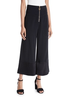 Derek Lam Wide-Leg Cropped Crepe Pants