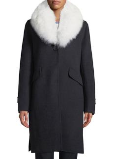 Derek Lam Wool-Blend Midi Coat w/ Fur Shawl Collar