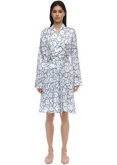 Derek Rose Brindisi Flower Print Silk Kimono
