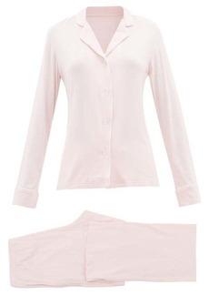Derek Rose Lara contrast-piping jersey pyjamas