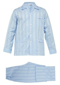 Derek Rose Lingfield jacquard-stripe cotton pyjamas